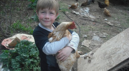"Johann with his ""pet chicken"" who he has named Butterscotch."