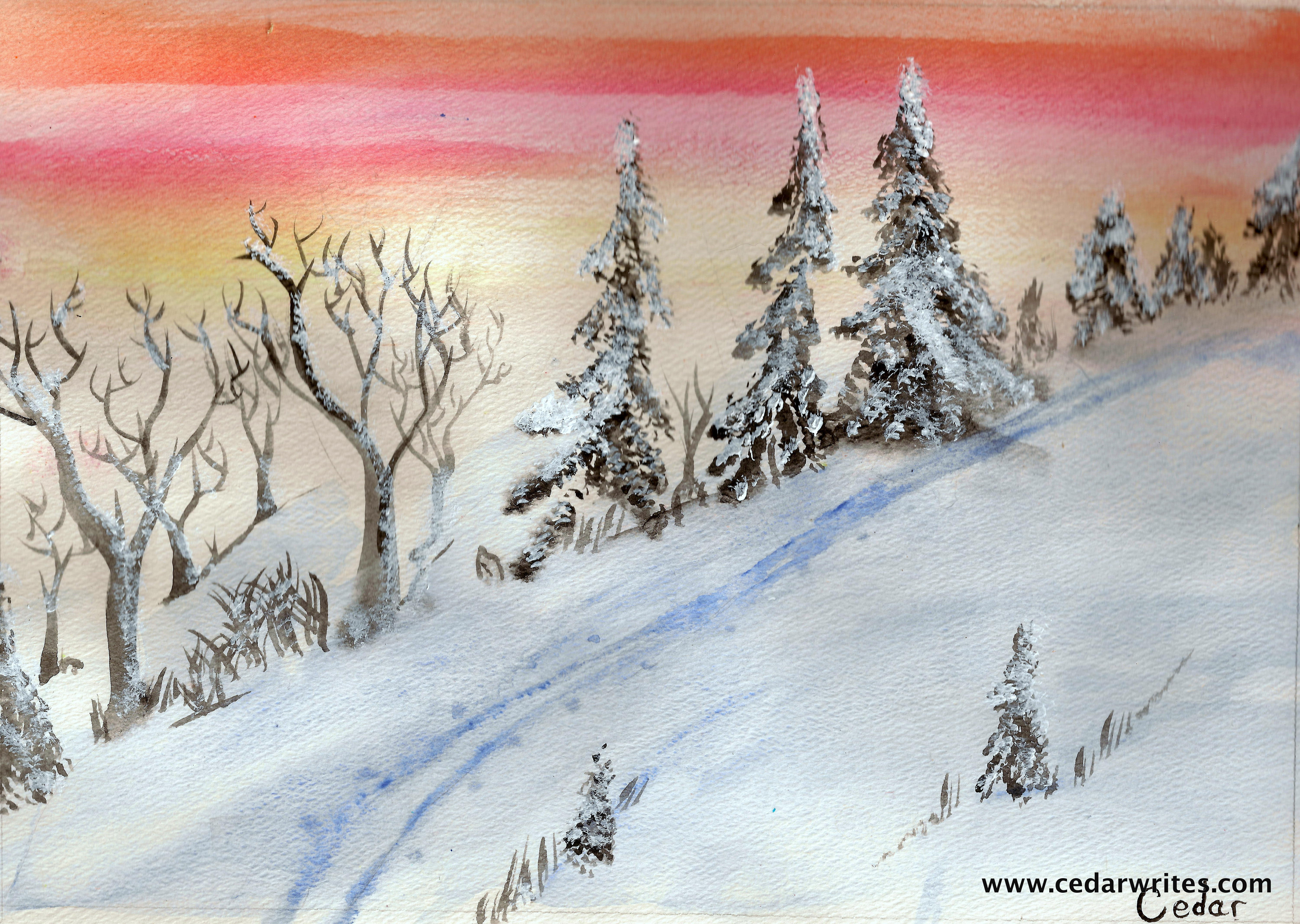 watercolor painting of snow and sunset