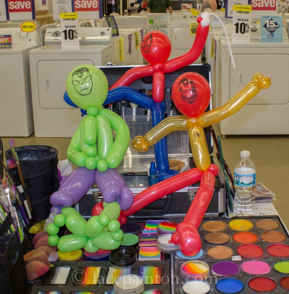 balloon superhero sculptures