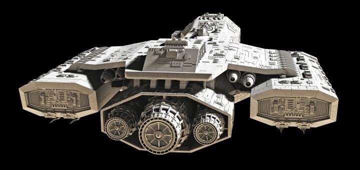 Spaceship on black - rear view