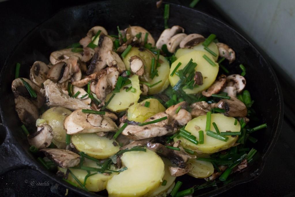 onion, mushroom, potatoes