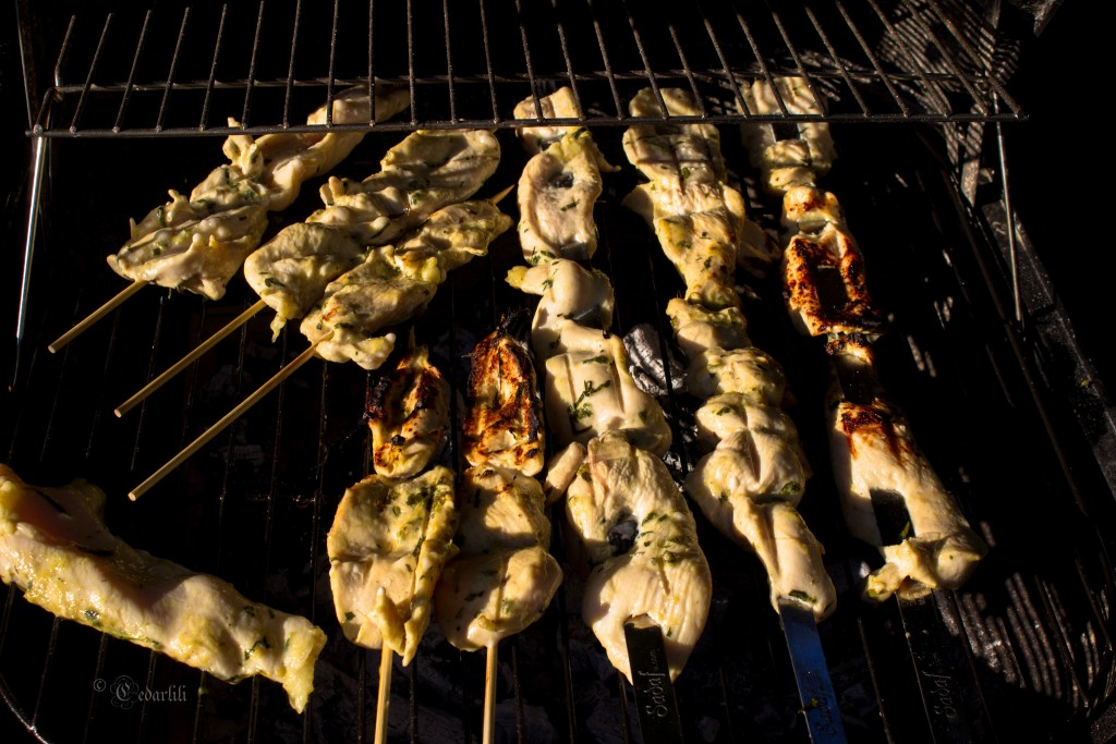 Chicken skewers on grill