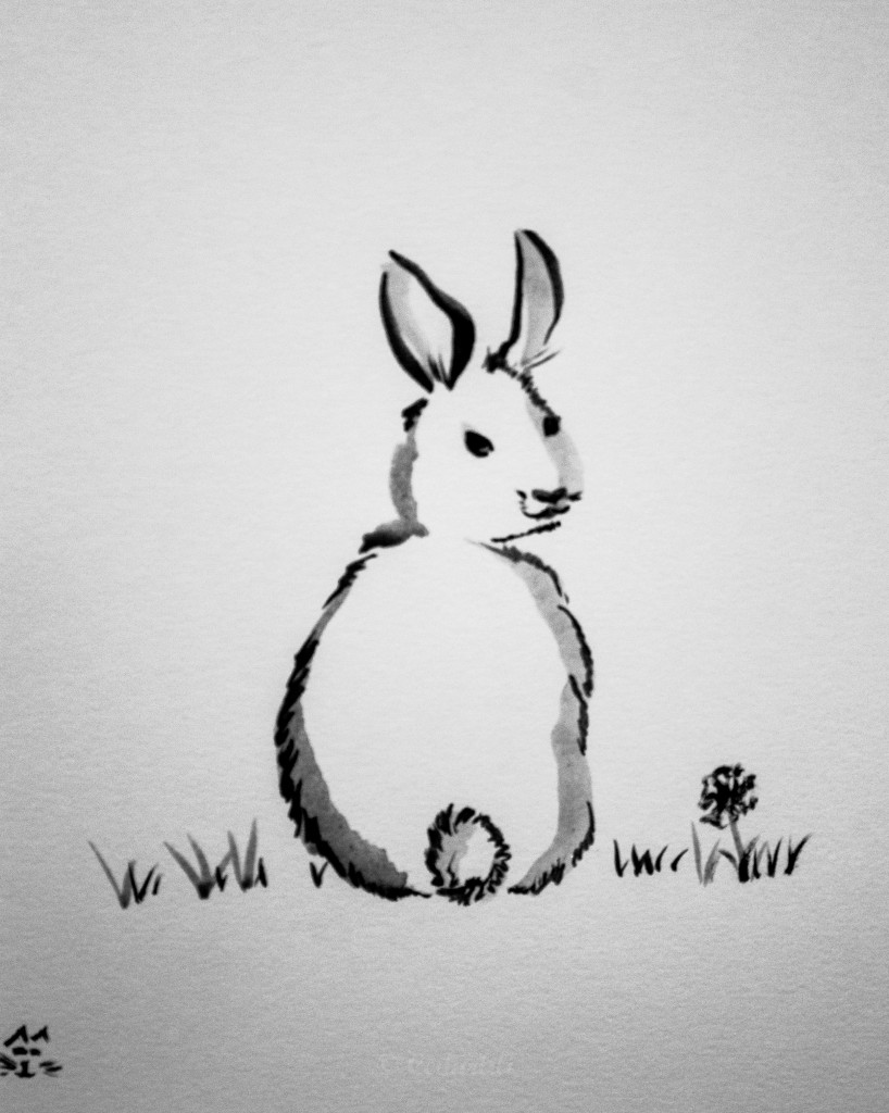 bunny in sumi style