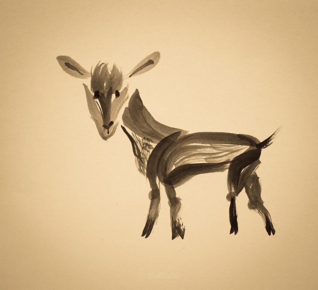 Sumii style goat painting