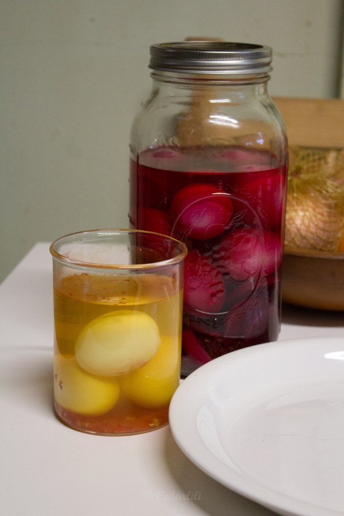 Two kinds of pickled eggs to try.