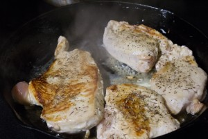 Browning the chicken. Finishing it in the oven meant it was really tender and juicy.