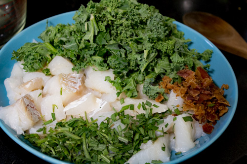 All this is prepped and ready to slide into the soup. I will say that if you are trying to stretch the meal, doubling the potatoes, stock, kale, and leaving the fish and cream amounts as-is will work just fine.