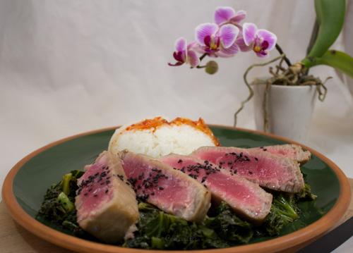 Tuna steak and rice