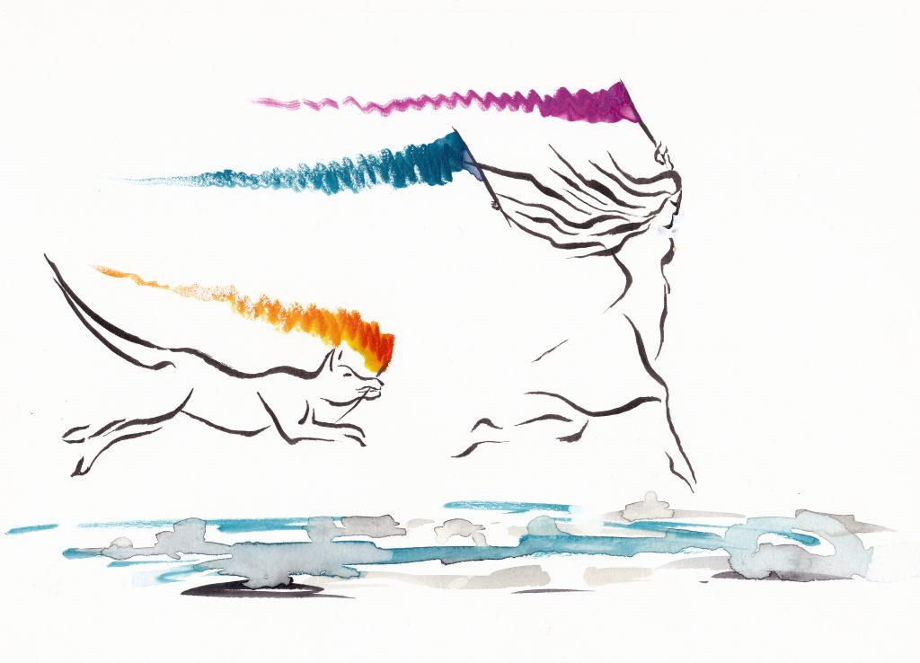 Joie de Vivre. Watercolor and ink on 7x10 paper
