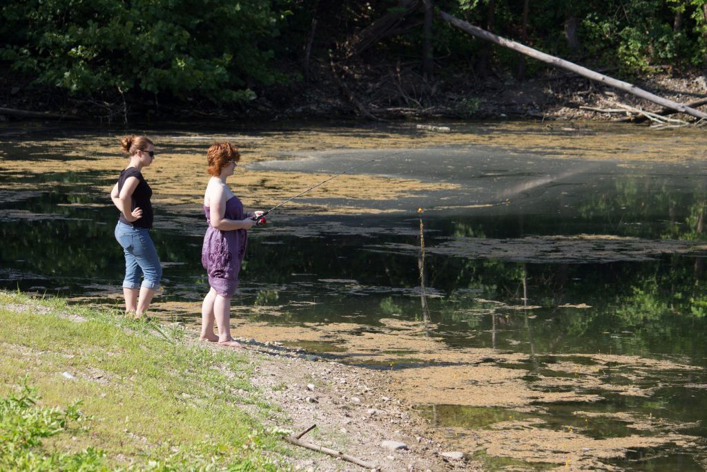 Fishergirls, learning how to cast.