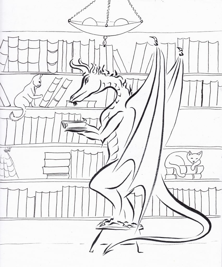 The Librarian.  I will be coloring this one, either digitally or painting. Maybe colored pencils.